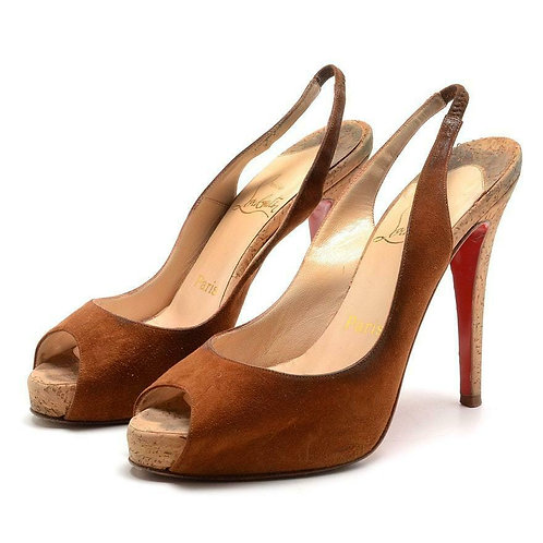 CHRISTIAN LOUBOUTIN Brown Suede Peep Toe Slingback Cork Pumps Size 36