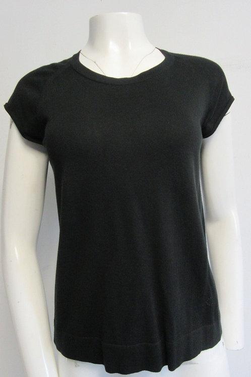 HERMES Paris black cotton- silk knit cap- sleeve top sz I 40/ US 6