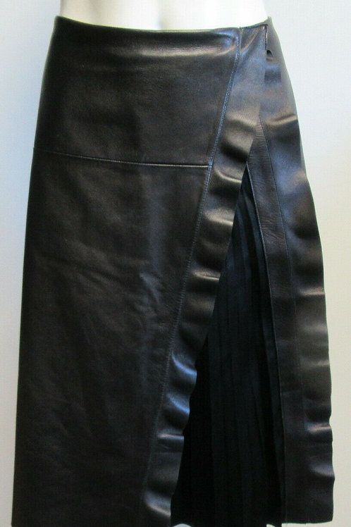 VALENTINO black ruffle trim leather wrap skirt wIth under pleating SZ 8