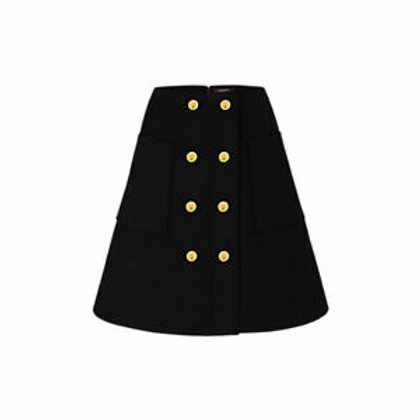 LOUIS VUITTON black A-line skirt with gold buttons SZ 36