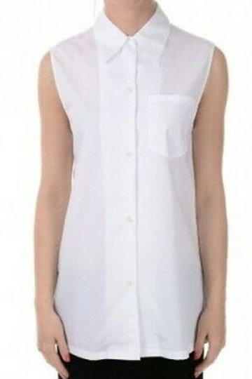 PRADA White Collared Sleeveless Popline Blouse Size M