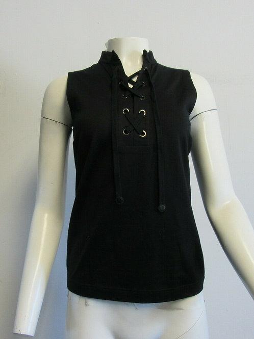 AKRIS PUNTO black cotton blend lace up front sleeveless top SZ I 44/8