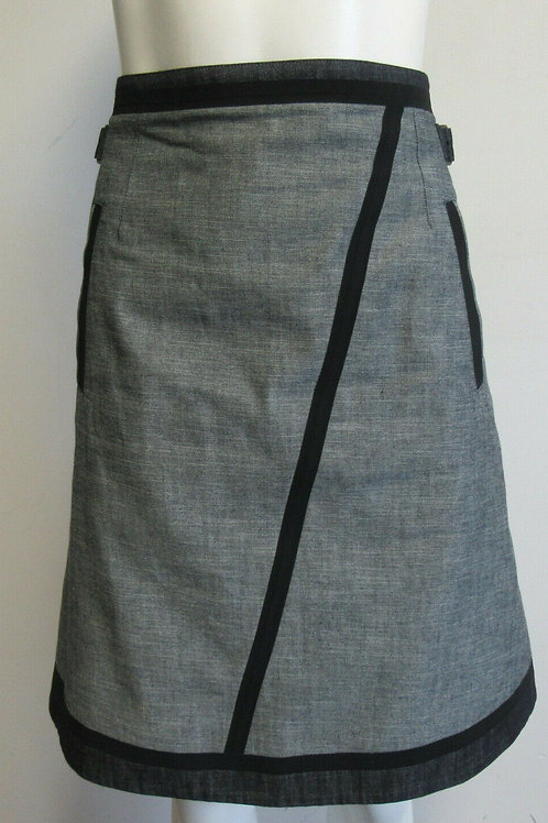 TOMAS MAIER grey/black/blue denim skirt with buckles SZ 6