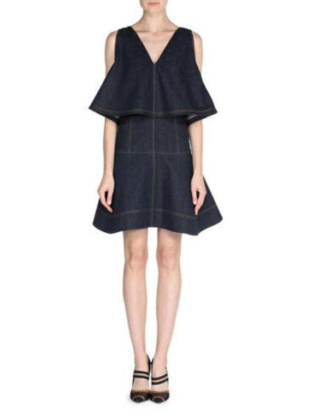Fendi Sleeveless Denim Dress w/Cape SZ 44/8