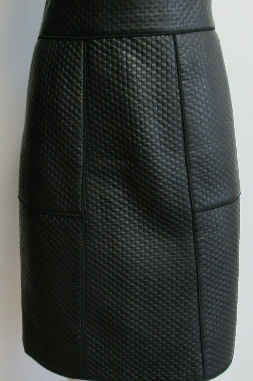 AKRIS PUNTO black lamb leather quilted pencil skirt SZ 10