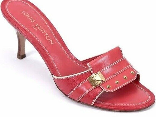 LOUIS VUITTON Red Leather Geranium Suhali Slides Size 37.5