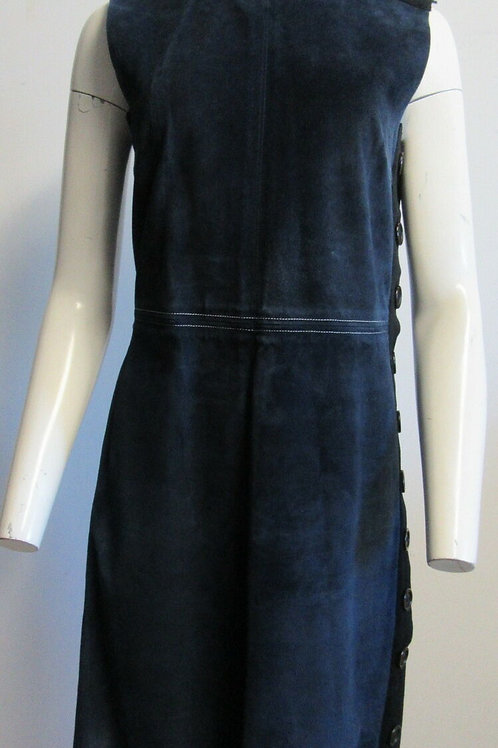 CELINE Blue calfskin suede shift dress with buttons SZ 42