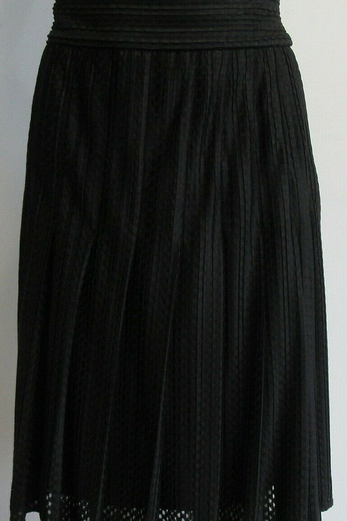 CHANEL black mini pleat pleated skirt SZ 44