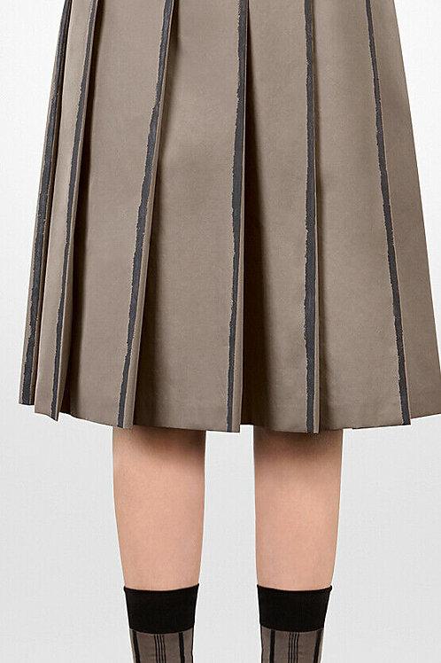 BOTTEGA VENETA taupe/black stripes limestone cotton skirt SZ M