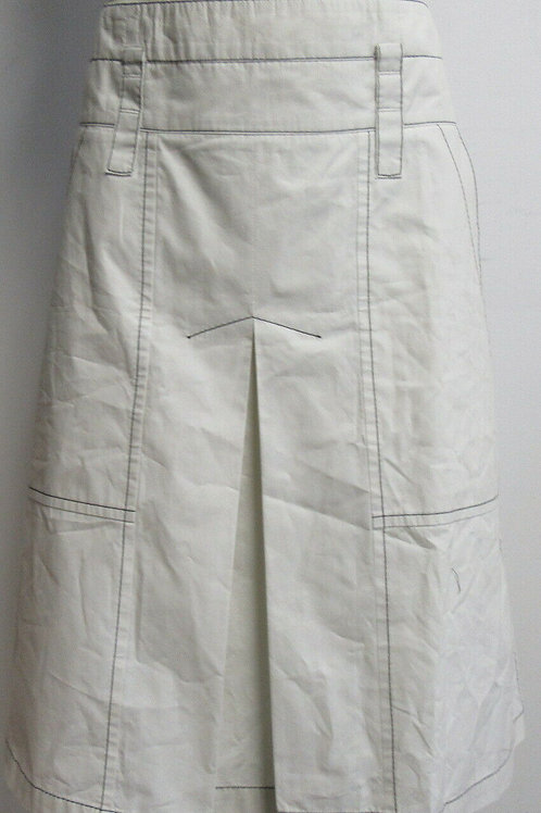 BOTTEGA VENETA white A-line inverted pleat skirt w/ contrast stitching SZ 40