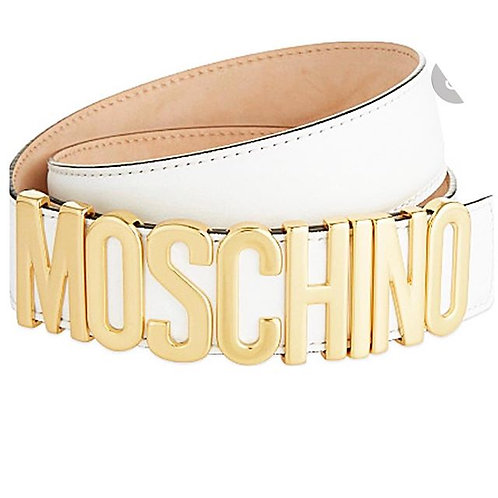 Moschino White Leather Letter Belt size 42