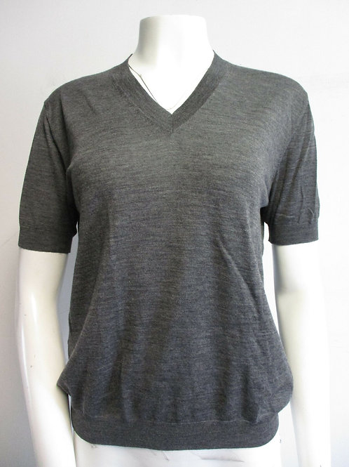 PRADA grey virgin wool V-neck short-sleeve knit top sz 38/ 4