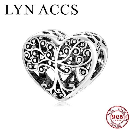 New Arrival 925 Sterling Silver Hollow Heart Family Tree Charm Beads