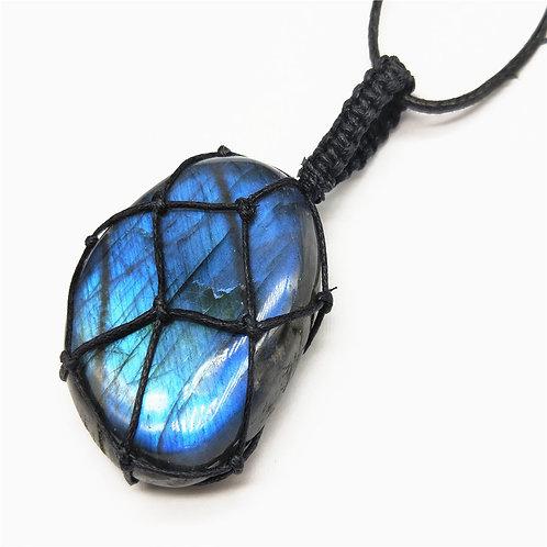 Labradorite Necklace Natural Stone Pendant Energy Necklace Dragons Heart