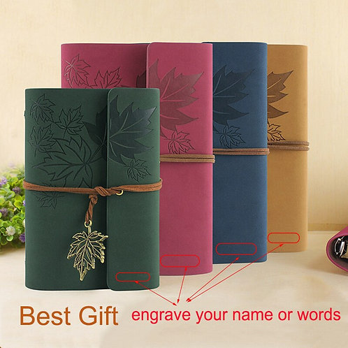 RuiZe  Leather Journal Notebook Vintage Kraft Paper Blank Can Be Engraved
