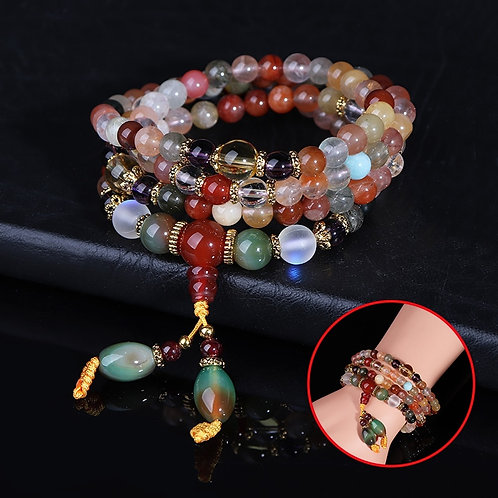 Natural Colorful Crystal Quartz Beads Buddhist Bracelet Necklace 108Pcs