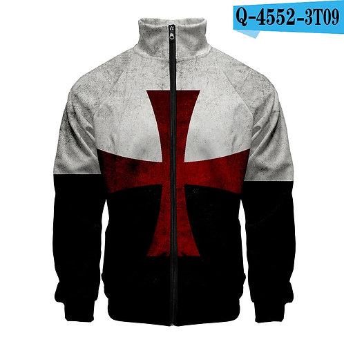 New Movie Knights Templar 3D Zipper Sweatshirt Jackets Stand Collar Sweatshirt P