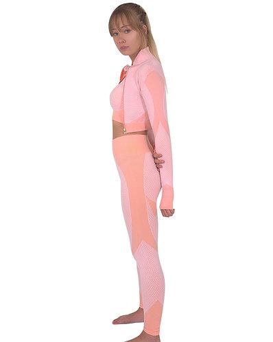 Trois Seamless Jacket, Leggings & Sports Top 3 Set - Pink