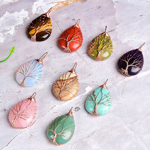 1PC Natural Crystal Tree of Life Pendant Fashion Simple Quartz Mineral Jewelry