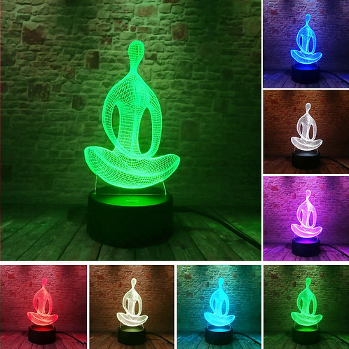 3D 7 Color Changing Yoga LED Meditation of Acrylic Night Ligh