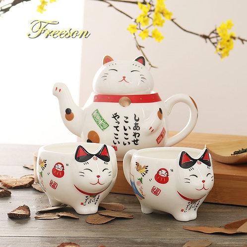 Lucky Cat Porcelain Tea Set  Maneki Neko  Tea Cup Pot With Strainer