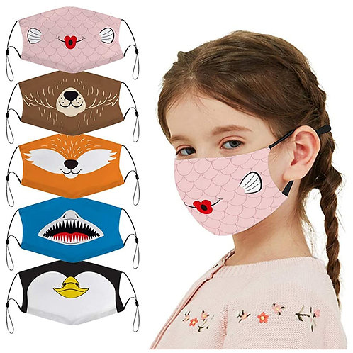 Kids Cartoon Adjustable Cotton Protective Mouth Mask Washable and Reusable