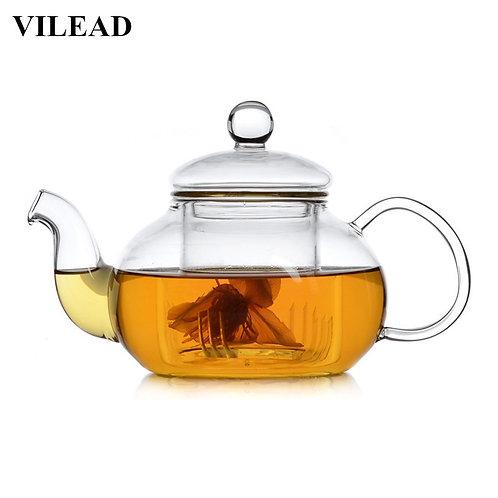 VILEAD Handmade Heat-Resistant Borosilicate Glass Thick Tea Pot Filter