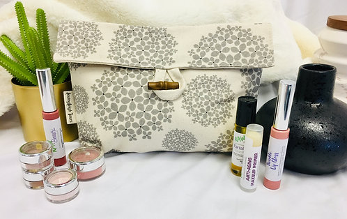 Large Sized Makeup Pouch - Flowers