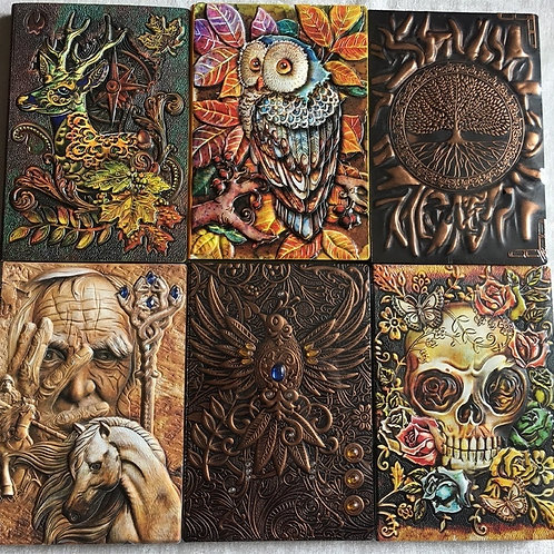 Book of Shadows 3D Relief Cover Book  Embossed Retro Notebook-Ruled Papers