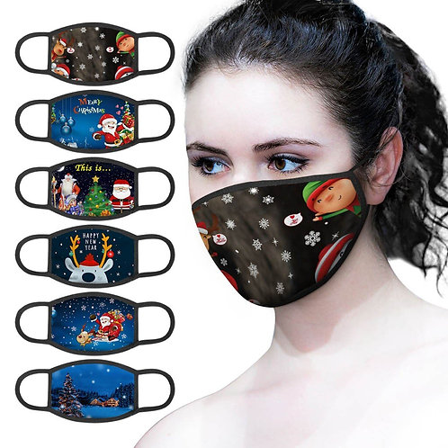 Christmas Unisex Face Masks Dustproof Breathable Adjustable Windproof Washable