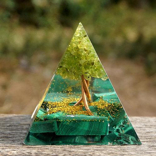 Handmade Tree of Life Orgone Pyramid 50mm Peridot & Malachite