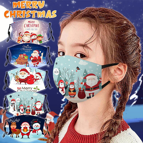 1pc Christmas Print Children Mask for Reusable Face Mask Breathable