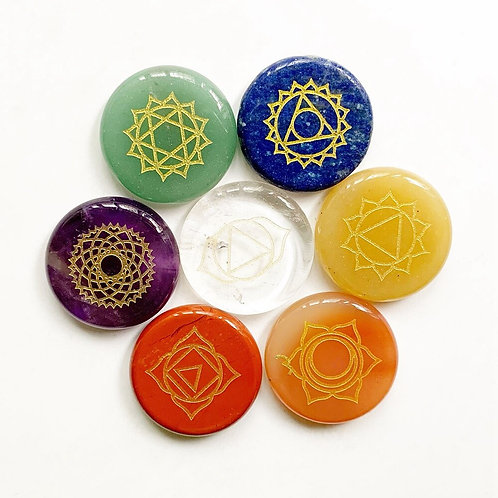 7 Chakra Stones Set Polished Palm Stones Natural Crystals Healing Chakra Set