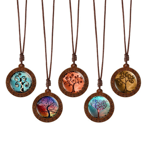 Tree of Life Dome Glass Wood Pendant Necklaces Wax Rope Chain Necklaces Gift