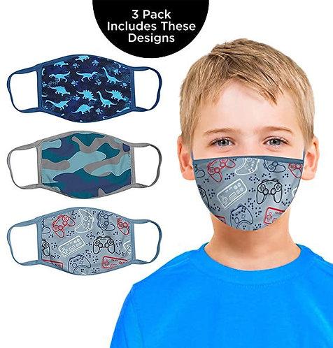 3pc Kids Printed Face Masks Washable and Reusable Masks