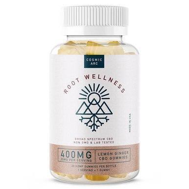 Root Wellness - CBD Edible - Lemon Ginger Gummies 20 Count Bottle - 20mg