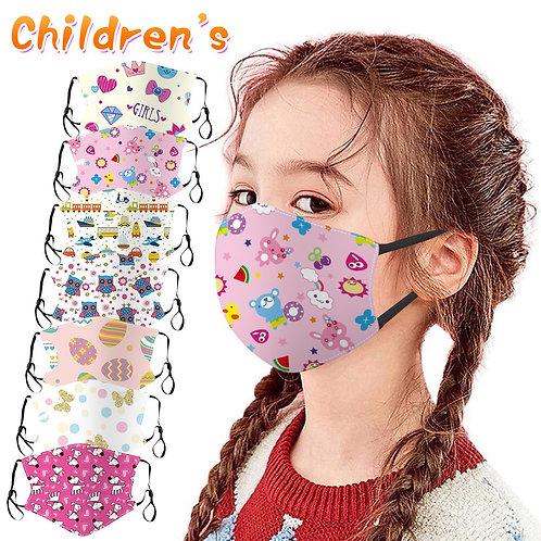 Kids Face Masks for Kids Washable Adjustable Breathable Cartoon Printed Cotton