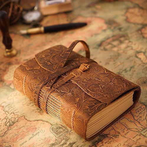 Thick Genuine Leather Journal Book 400 page  Hand Made Notebook Free Shipping
