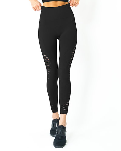 Mesh Seamless Legging With Ribbing Detail - Black