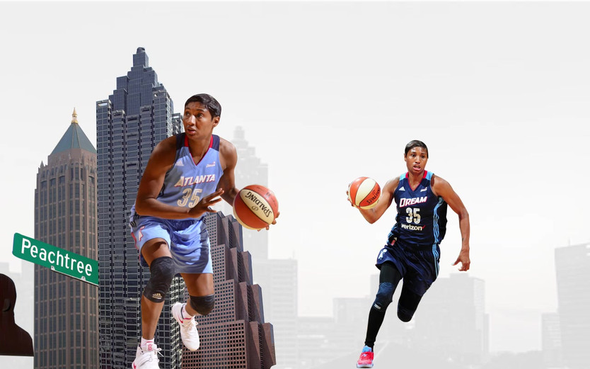 Social media motion graphic created to welcome back star player Angel McCaughtry