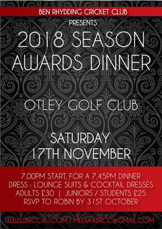 2018 Season Awards Dinner approaching!