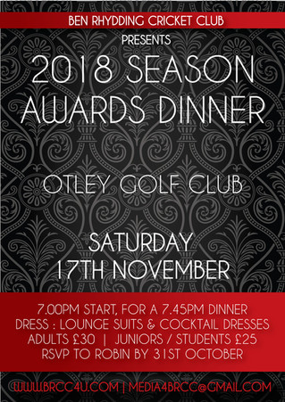 2018 Season Awards Dinner approaching!