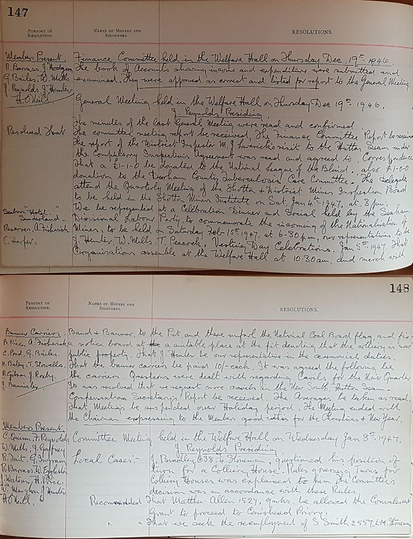 Hand written minutes in a specially printed minute book