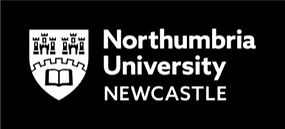 Northumbria University Newcastle logo in black and white.  Crest next to text with two castles a wall and book.