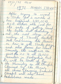 Single page from a lined notebook written in a blue pen headed '1972 Miners Strike' underlined