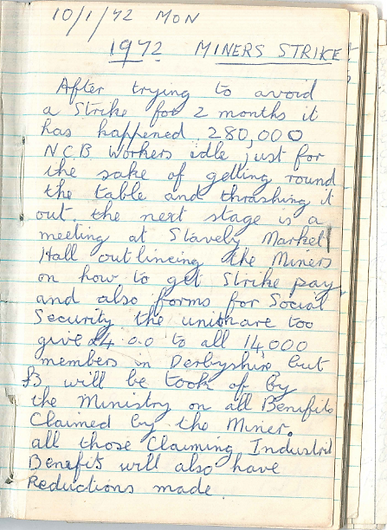 Single page from a lined notebook written in a blue pen headed '1972 Miners Strike' underlined