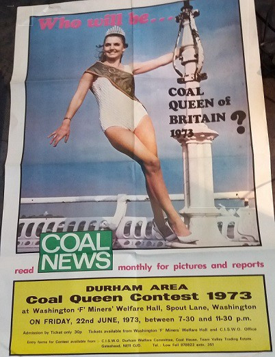 Coal News advertisement about Coal Queen pageant, woman in bathing suit by the seaside
