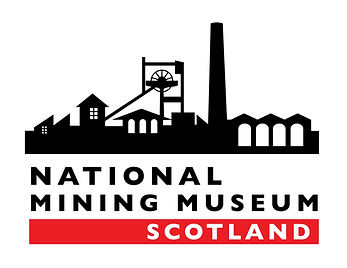 Logo of the National Coal Mining Museum of Scotland. A stylised imagery of a colliery in black on a white background, most of the text is in black on the same background the word 'Scotland' is white on a red background
