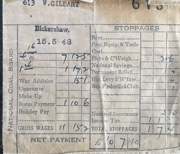 Payslip for W. Gildart. The payslip is printed the details of the date and the person paid are typewritten, all figures are handwritten
