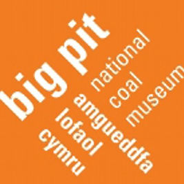 Big Pit logo, orange on a white background with the text at different angles.  Text: 'big pit amgueddfa lofaol cymru, national coal museum'